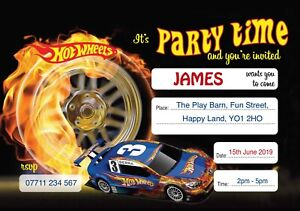 HOT WHEELS PERSONALISED BIRTHDAY PARTY INVITES Invitations Pack of 10