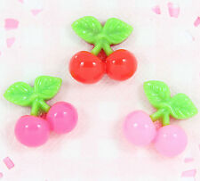 6 x Cute Cherry Cherries Flatback Cabochon Embellishments Decoden Kawaii