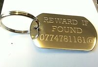 Reward If Found Keyring Key Ring Engraved Phone Number Lost Safety Present Gift