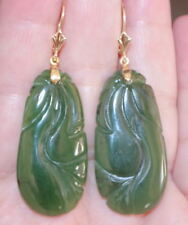 PRICED TO SELL 14K GREEN CARVED JADE JADEITE LARGE OVAL LEVERBACK EARRINGS
