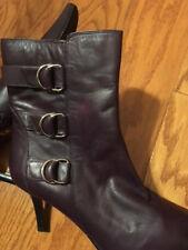 """Valerie Stevens Val Flex Eggplant color Leather 8.5 M Ankle Boots 3"""" slim heel"""