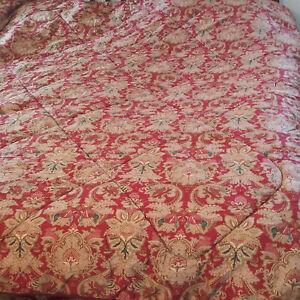 Ralph Lauren King Jardiniere Comforter Red Beige Green Sateen Cotton