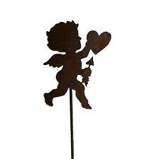 Engel mit Herz auf Stab Gartendeko Metall Rost Gartenstecker Weihnachten Winter
