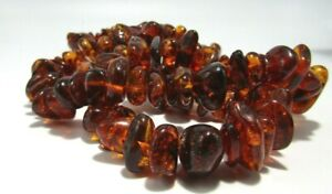 """Vintage Natural Chunky Baltic Amber Nugget Bead Necklace 32""""  122 Grams"""