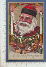 A147 Santa Claus embossed post card quill pen child's toy doll teddy bear candle