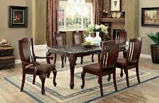 NEW Traditional 7pcs Brown Finish Dining Room Faux Marble Table Chairs Set ICCB