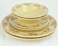 Shenango Inca Ware Rose Point Set Dinner & Salad Plate Soup Bowl 6 Piece Set