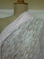 Pale pink floral lightweight polyester stretch lace fabric 2 m x 164 cm