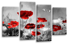 Red Grey Wall Art Picture Chinese Floral Flower White Poppies Split Canvas Panel