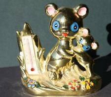 Teddy Bear Thermometer Figurine-Vintage Made in Japan Gold Metallic-Must See