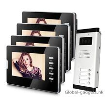 "Apartment 4-Unit Wired 7"" Video Door Phone Intercom System with 4HD Monitors NEW"