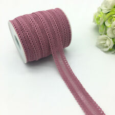 "5yds 5/8""(16mm)PaleMauve Bilateral Lace Grid Fold Over Elastic Spandex Lace Band"