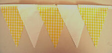 Yellow & White Gingham Fabric Bunting Wedding Bedroom Decoration 2mt or more