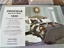 "Priscilla Reactive Dyes 6 Piece King Sheet Set 100% ""Cotton Touch"" Polyester"