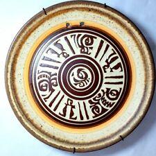 Round   Vintage Decorative Stoneware Ceramic Pottery Dish Plate Signed Modern