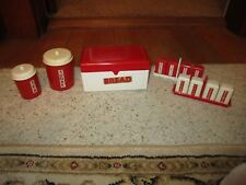 Vintage Ideal Red/White Plastic Toy Bread Box, 2 Canisters & 8 Spices W/Holders!