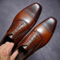 Mens Handmade Shoes Oxfords Brown Leather Lace Up Formal Wear Casual Dress Boots