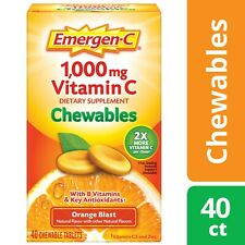 Emergen-C Orange Blast 1000mg Vitamin C Zinc 40 Chewables Tablet Immune Support