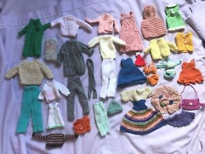 bundle of hand knitted clothes suit Barbie or similar doll-lots vintage