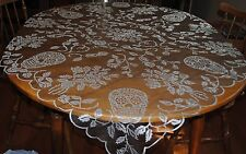 HERITAGE LACE SILVER & BLACK SKULL/ROSES TABLE TOPPER/TABLECLOTH ITEM A33