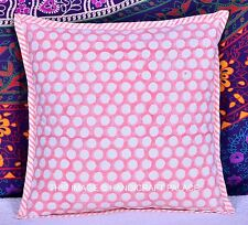 Indian Polka Dot Printed Cotton Zipper Closure Cushion Cover Home Decor Throw