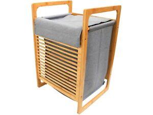 Bamboo & Fabric Laundry Bin Bathroom Basket