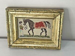 Antique Horse Needlepoint Sampler in Lemon Gold Period Frame