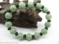 Natural Certified A Grade Jade (jadeite) 10mm Carved Green Beads Bracelet