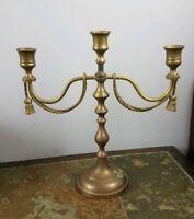 Vintage Brass 3 Candle Table Tasseled Candelabra