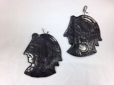 Simon Reyes Oaxaca Blackware Black Pottery 2 Mexican Warrior Faces Wall Hanging