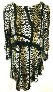 Eva Varro Animal Print 3/4 Sleeve Layered Tunic Asymmetrical Women's L, Lg Large