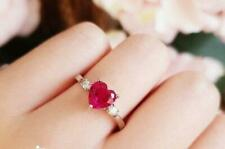 1.5ct Heart Cut Pink Ruby Engagement Ring 14ct White Gold Over Trilogy Solitaire
