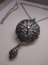 Antique Georgian 17th-18th Century Rare Silver Wirework Pomander Pendant & Chain