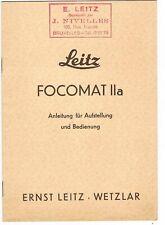 LEITZ FOCOMAT IIa Anleitung/Instructions - 8 Pages/Seiten -1951