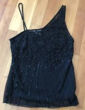 Cache Women's Black One Shoulder Beaded Top New With Tags Size M