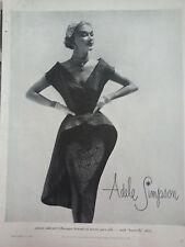 1951 Adele Simpson Womens Baroque Brocade Pure Silk w Butterfly Skirt Dress Ad