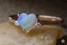 Heart Shaped Australian Solid Opal & Diamond Engagement Ring in 14K Yellow Gold