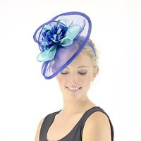 Jendi Ladies Blue & Aqua Formal Spring Racing Oaks Day Fascinator Headband Races