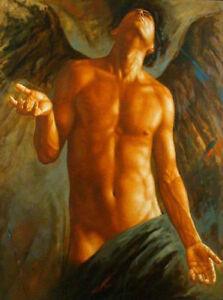 ZOPT648 half nude man angel 100% hand painted wall art OIL PAINTING ON CANVAS