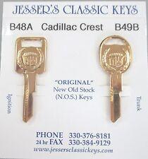Rare Cadillac Original NOS A&B Gold Cadillac Crest Wreath Key Set B48A & B49B