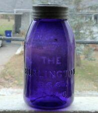 Antique large size BURLINGTON Rd 1876 deep purple fruit canning jar FREE SHIP!