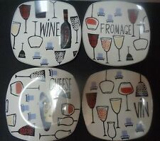 New listing Sakura Wine And Cheese Stoneware Plates By Peggy Ann Sublett Set of Four