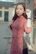 Ao Dai Red Vietnamese Authentic Traditional Small Flower Red Chiffon Dress