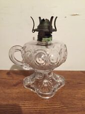 Antique EAPG Bullseye & Fleur Pattern Glass Finger Handle Oil Lamp
