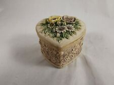 Jewelry Box Resin Small Size Case Flowers Vintage Ring Earring Holder