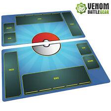 Pokemon Playmat TCG 2 mat set Fabric, Rubber backed - Card Game - Stadium Water