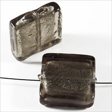 Set of 4 glass beads Sheet Silver Square 20mm Grey