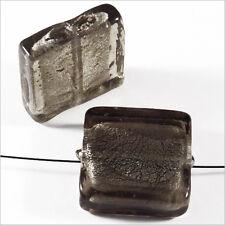 Lot de 4 perles en verre Feuille d'Argent Carrées 20mm Gris