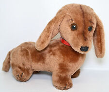 """R Dakin Dachshund Puppy Weiner Dog Brown 12"""" Plush Red Collar Vintage Toy 1976"""