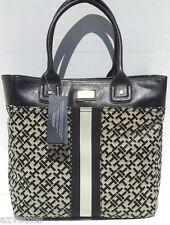 NEW! Black-Alpaca [TOMMY HILFIGER] LARGE Shoulder TOTE Travel Handbag Tommy
